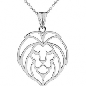 sterling silver lion pendant necklace